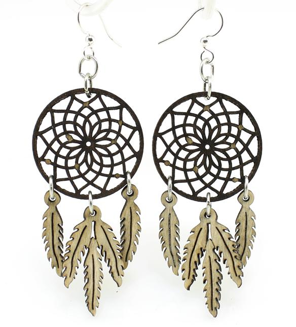 Earrings dream catcher and feather white
