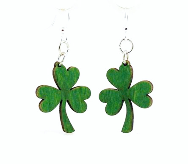 d38214bf4 Shamrock Wood Earrings made from Eco Friendly Wood