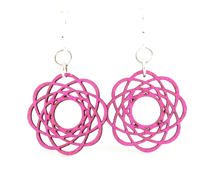 Fuschia Molecular Blossom Earrings