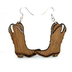 cowboy boot wood earrings
