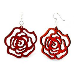 Red rose wooden earrings