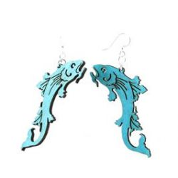 Blue koi fish wood earring