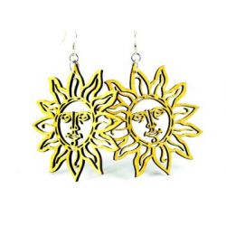Yellow Sun wood earring