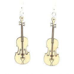 Natural wood violin earring