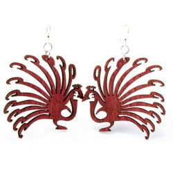red peacock wood earring
