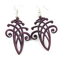 Purple acorn wood earrings