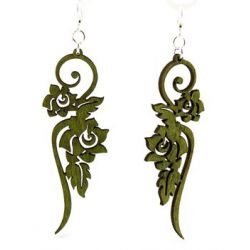 rose flower vine green wood earring