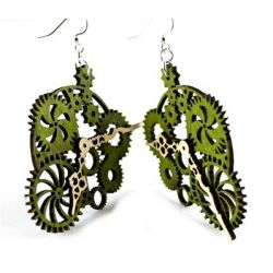 Green gear clock wood earrings