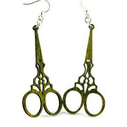 Apple Green Scissor Wood earrings