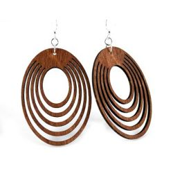 cinnamon oval offset wood earrings