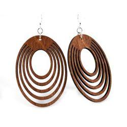 cinnamon oval offset wood earrings