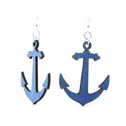 Royal blue wooden anchor earrings