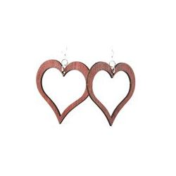 Red open heart wooden earrings