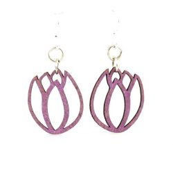 Violet tulip blossom wood earrings