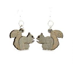 Gray squirrel wood earrings