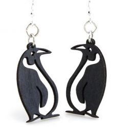 Black Satin wood penguin earrings