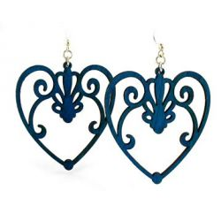 royal blue scroll heart wood earrings