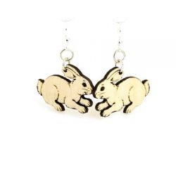 Natural wood bunny earrings
