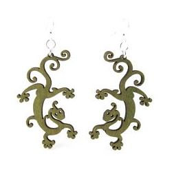 Apple Green Gecko Earrings