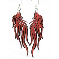 Cherry Red Flame Wood Earrings