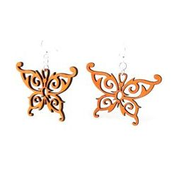 Tangerine Butterfly Wood Earrings
