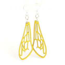 Yellow Bee Wing Wood Earrings