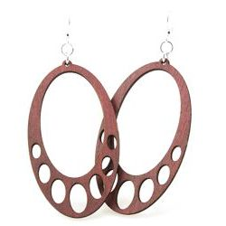 Cinnamon hanging oval wood earrings