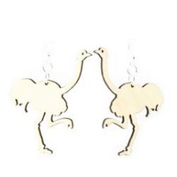 Natural Wood Ostrich Earrings