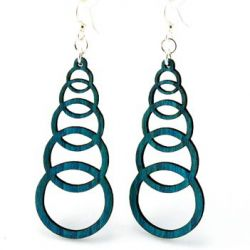 Teal ascending circle wood earrings