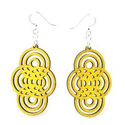 Yellow overlapping circle wood earrings