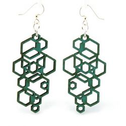 Teal hexagon cluster wood earrings