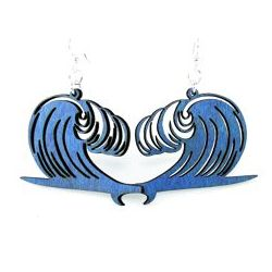 Royal blue wave surfboard earrings