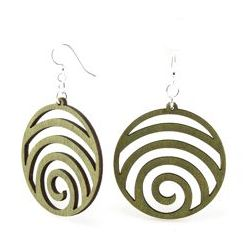 Apple Green wave circle wood earrings
