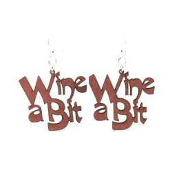 Wine a bit wood earrings
