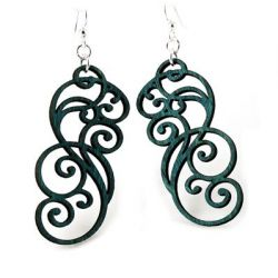 Teal Filigree Scroll Wood Earrings