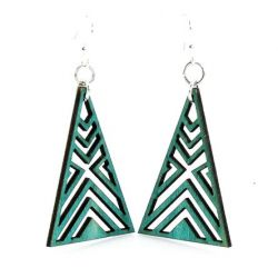 Teal Interlocked Triangle Wood Earrings