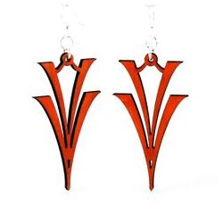 Cherry Red V on V Wood Earrings