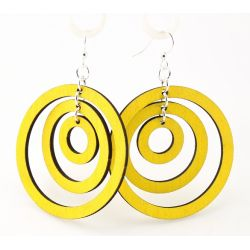 Lemon Yellow Triple Hoop Wood Earrings