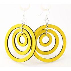 Lemon Yellow Triple Hoop Wood Earrings