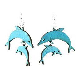 Aqua Marine Dolphin Wood Earrings