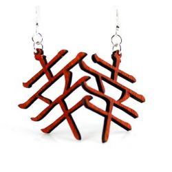 Red Kanji symbol wood earrings