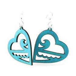 Aqua Marine Ocean Heart Earrings