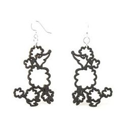 Black Poodle Wood Earrings