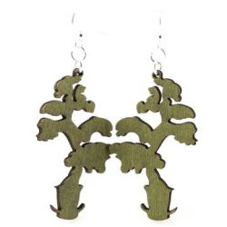 Apple Green Elongated Bonsai Earrings