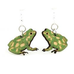 Green Frog Wood Earrings