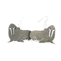 Gray Walrus Wood Earrings