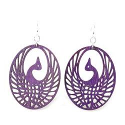 Purple Phoenix Wood Earrings