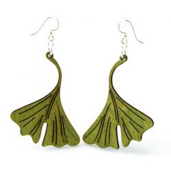 Apple green ginkgo leaf wood earrings