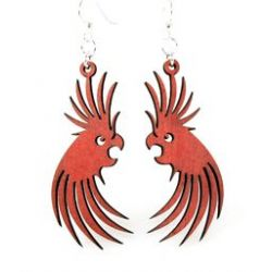 Red cockatoo wood earrings