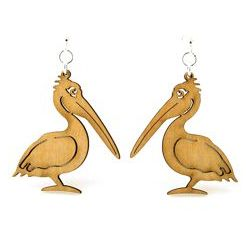 Tan pelican wood earrings